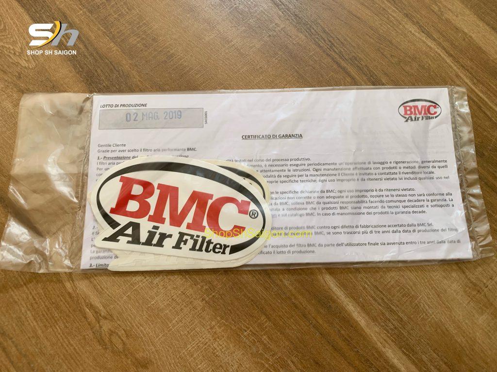 Lọc gió BMC chính hãng có hộp và tem, nhãn mác xuất xứ, ngày sản xuất rõ ràng